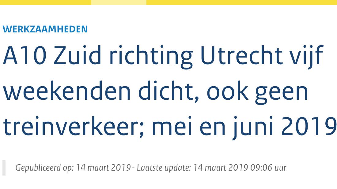 A10 Zuid richting Utrecht vijf weekenden dicht